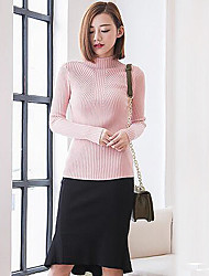Women's Casual Cashmere Knitwear High Neck Slim Sweater Pullover