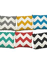 Set of 6 Simple wave pattern Linen Pillowcase Sofa Home Decor Cushion Cover