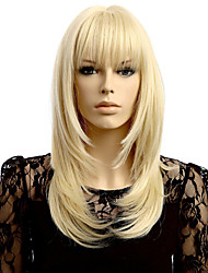 Straight Wave Blonde Synthetic Wigs Hair Wig Neat Bang Wigs Women's Hair Heat Resistant Synthetic Wigs