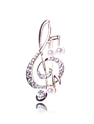 Women's Brooches AAA Cubic Zirconia Simulated Diamond Alloy Rhinestone Music Notes Gold Jewelry Daily