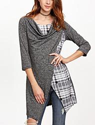 Damen Einfarbig Verziert Einfach Lässig/Alltäglich T-shirt,Rundhalsausschnitt Frühling Herbst ¾-Arm Grau Kunstseide Polyester Dünn