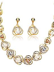 Schmuck-Set Imitierte Perlen Strass Perle 18K Gold Aleación Gold Hochzeit Party Alltag 1 Set 1 Halskette 1 Paar Ohrringe