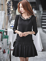 DABUWAWA Women's Ruffle Going out Casual/Daily Holiday Street chic Punk & Gothic Sophisticated Shift Sheath Little Black DressSolid Patchwork Beaded