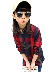 Girl's Fashion Going out Casual/Daily Holiday Spring/Fall Cotton Long Sleeve Lapel Check Patchwork Blouse Children Color Block Shirt