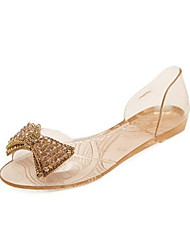 Women's Sandals Summer PU Outdoor Casual Flat Heel Translucent Heel Beading White Black Champagne