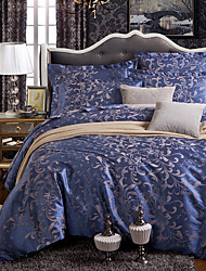 Floral Duvet Cover Sets 4 Piece Polyester Luxury Reactive Print Polyester Queen 1pc Duvet Cover 2pcs Shams 1pc Flat Sheet