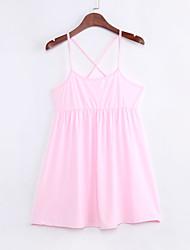 ремень платье мини женской, хлопок розовый пляж / вскользь