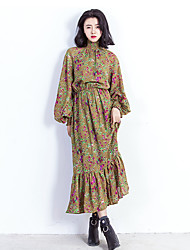Women's Going out Beach Holiday Vintage Cute Chinoiserie Chiffon Dress,Floral Ruffle Crew Neck Maxi Long Sleeve Lantern Sleeve Polyester