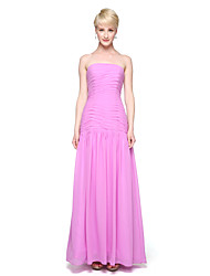 2017 Lanting Bride® Ankle-length Chiffon Elegant Bridesmaid Dress - A-line Strapless with Pleats