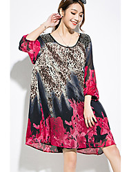 Women's Going out Casual/Daily Beach Vintage Boho Loose Dress,Floral Leopard Ruffle Round Neck Above Knee Long Sleeve Polyester Pink