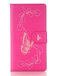 Pour Portefeuille Porte Carte Avec Support Clapet Relief Coque Coque Intégrale Coque Papillon Dur Cuir PU pour SonySony Xperia X Sony