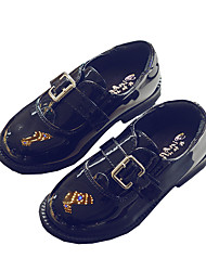 Boy's Flats Other Patent Leather Casual Black White