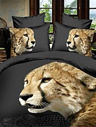 Animal 4 Pièces Imprimé 1 x Housse de couette 2 x Taies d'oreiller brodées 1 x Drap lit