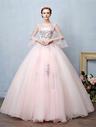 Ball Gown Princess Illusion Neckline Floor Length Lace Tulle Formal Evening Dress with Beading Lace by FALILU
