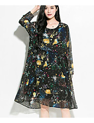 Women's Going out Casual/Daily Holiday Simple Street chic Chinoiserie Chiffon Dress,Floral Galaxy Round Neck Knee-length Long Sleeve