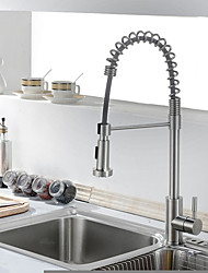 PHASAT Kitchen Faucet Contemporary Pullout Spray Stainless Steel Spring Nickel Brushed Finish Single Handle