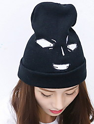 Unisex Casual Men Solid Color Twisted Knit Wool Patch Letters Printed Thick Warm Lleisure Hat
