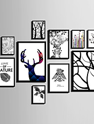 E-HOME® Framed Canvas Art Line Animals And Trees Theme Series Framed Canvas Print One Pcs