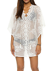 Women's Western Style V Neck Loose Beach Cover-Up Solid Mesh Lace Polyester White