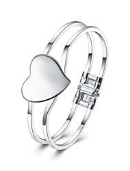 Браслеты Браслет цельное кольцо Браслет разомкнутое кольцо Медь Серебрянное покрытие В форме сердцаХип-хоп Турецкий Мода Винтаж Богемия