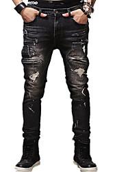 Hommes Slim Jeans Pantalon,simple Décontracté / Quotidien Couleur Pleine Déchiré Taille Normale fermeture Éclair Coton Micro-élastique