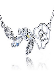 Women's Pendant Necklaces Jewelry Sterling Silver Zircon Cubic Zirconia Single Strand Jewelry Basic Vintage White JewelryParty Birthday