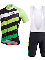 Miloto Cycling Jersey with Bib Shorts Men's Short Sleeves Bike Bib Shorts Jersey Bib Tights Shorts Shirt Sweatshirt Tops Quick Dry