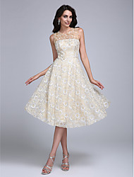 TS Couture Cocktail Party Prom Dress - Short A-line Jewel Knee-length Lace with Beading Flower(s)