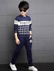 Boy Casual/Daily Solid Sets,Silk Fall Clothing Set