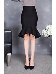The new high pockets hip skirt flounced skirts Korean Women in long skirts fishtail skirt Slim step skirt 60
