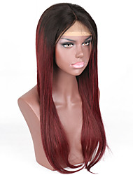 Ombre Color 1B/99J Brazilian Human Hair Straight Glueless Full Lace Wig