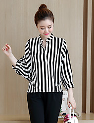 Sign 2016 new winter two-piece bat loose long-sleeved striped shirt