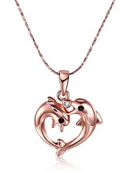 Feminino Colares com Pendentes Zircônia cúbica Forma Geométrica Formato Animal GolfinhoZircão Rosa Folheado a Ouro imitação de diamante