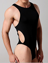 Homme Sexy Couleur Pleine Maillot de corps-Nylon