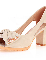 Women's Heels Spring Summer Fall Other Leatherette Office & Career Party & Evening Dress Chunky Heel Bowknot Blue Pink Beige