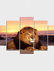 Stretched Canvas Print Landscape Animal Classic,Five Panels Canvas Any Shape Print Wall Decor For Home Decoration
