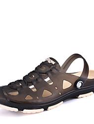 Men's Sandals Light Soles PU Summer Outdoor Upstream shoes Low Heel Dark Brown Dark Blue Black Under 1in