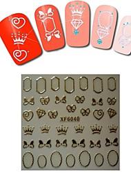 1sheet  Gold Nail Stickers XF6040