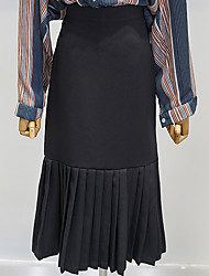 Damen Röcke,Bodycon Trompete/Meerjungfrau einfarbig Rüsche,Lässig/Alltäglich Street Schick Mittlere Hüfthöhe Midi ReisverschlussBaumwolle