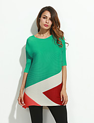 Women's Casual/Daily Simple Loose Dress,Color Block Round Neck Above Knee ¾ Sleeve Multi-color Rayon Spring
