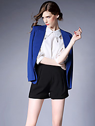 Real shot in Europe and America Slim large size long-sleeved long section of small suit jacket Women Korean tide