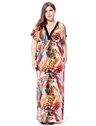 Femme Bohème/Dos Nu Balançoire Robe Grandes Tailles Bohème,Imprimé V Profond Maxi Manches Courtes Orange Polyester Spandex Printemps Eté Taille Haute