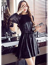 Feminino Bainha Rodado Vestido, Casual Formal Trabalho Sensual Sofisticado Sólido Decote Redondo Mini Acima do Joelho Manga Longa Preto