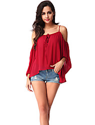 Women's Off The Shoulder Casual/Daily Simple Blouse,Solid Off Shoulder ¾ Sleeve Red Polyester