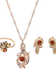 Women Gold Wedding Gifts Party Leaf-shaped Rhinestone Necklace Clavicle Chain Three-piece