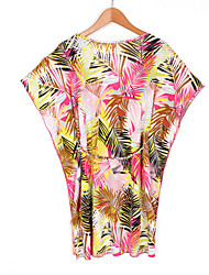 Women's Boho Cover-Up,Floral Ice Silk Red