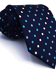 B24 Mens Necktie Navy Blue Multicolor Dots 100% Silk Business New Fashion Wedding Dress For Men