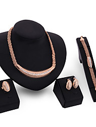 Women Gold Wedding Gifts Party Alloy Snake Bone Chain Rhinestone Necklace Four - piece Set