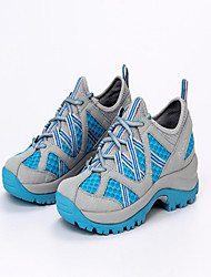 Women's Athletic Shoes Spring Summer Comfort Microfibre Leather Tulle Outdoor Athletic Low Heel Split Joint Lace-up Light Blue Light Grey
