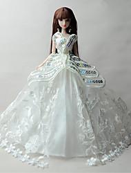 Princesse Robes Pour Poupée Barbie Blanc Imprimé Robes Pour Fille de Jouets DIY